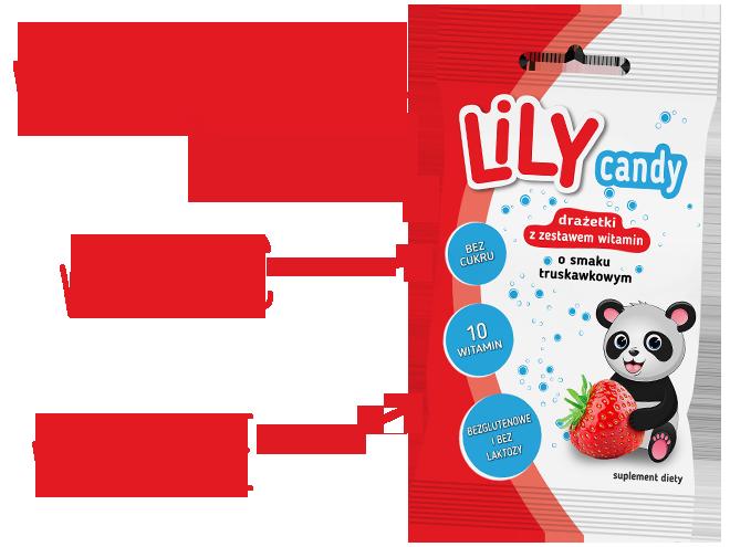 Drażetki LiLY CANDY z zestawem 10 witamin o smaku truskawkowym
