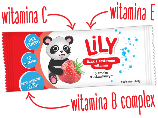 Lizak z zestawem 10 witamin o smaku truskawkowym